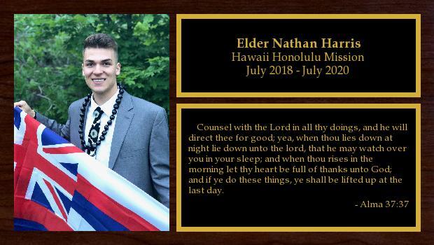July 2018 to July 2020<br/>Elder Nathan Harris