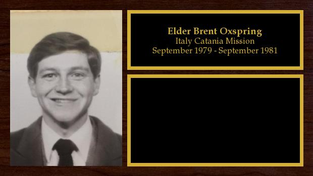 September 1979 to September 1981<br/>Elder Brent Oxspring