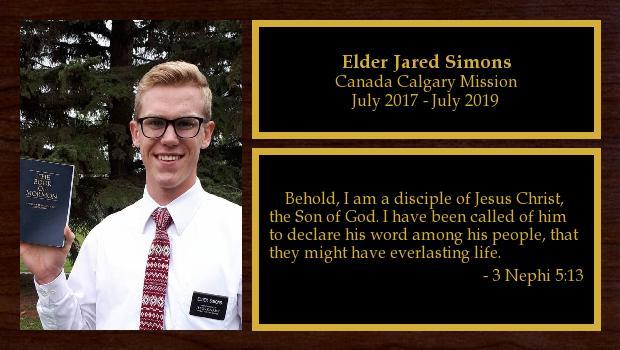 July 2017 to July 2019<br/>Elder Jared Simons