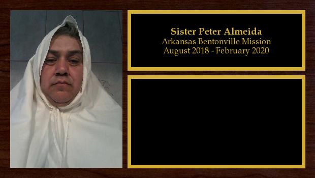 August 2018 to February 2020<br/>Sister Peter Almeida