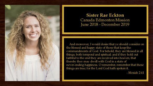 June 2018 to December 2019<br/>Sister Rae Eckton