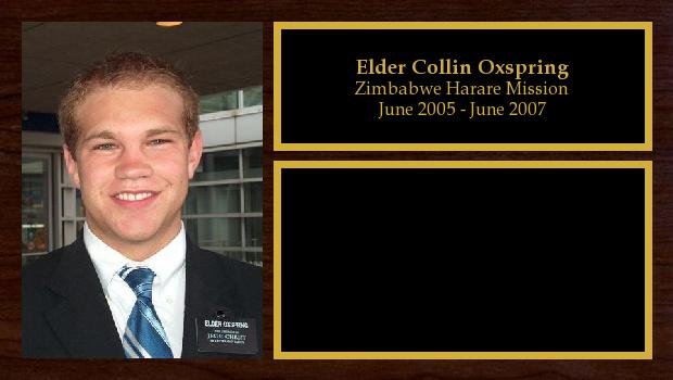 June 2005 to June 2007<br/>Elder Collin Oxspring