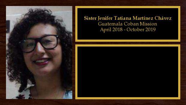 January 2018 to July 2019<br/>Sister Jenifer Tatiana Martínez Chávez