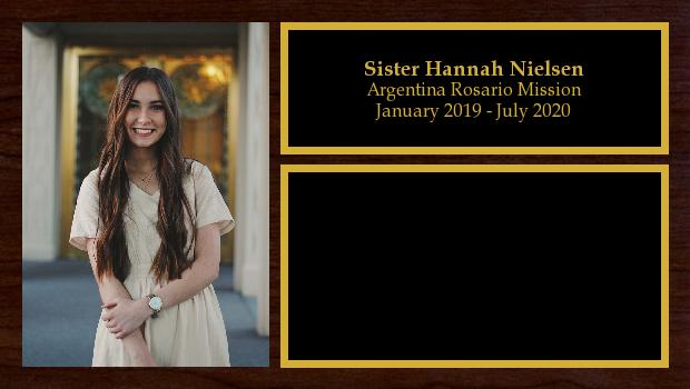 January 2019 to July 2020<br/>Sister Hannah Nielsen