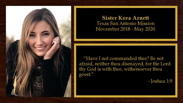 November 2018 to May 2020<br/>Sister Kora Arnett
