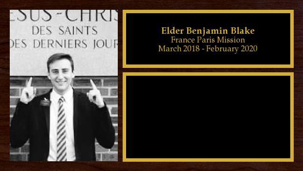 March 2018 to March 2020<br/>Elder Benjamin Blake