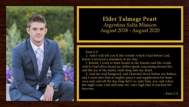August 2018 to August 2020<br/>Elder Talmage Peart