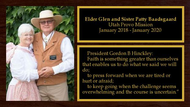 January 2018 to January 2020<br/>Elder Glen and Sister Patty Baadsgaard