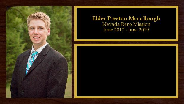 June 2017 to June 2019<br/>Elder Preston Mccullough