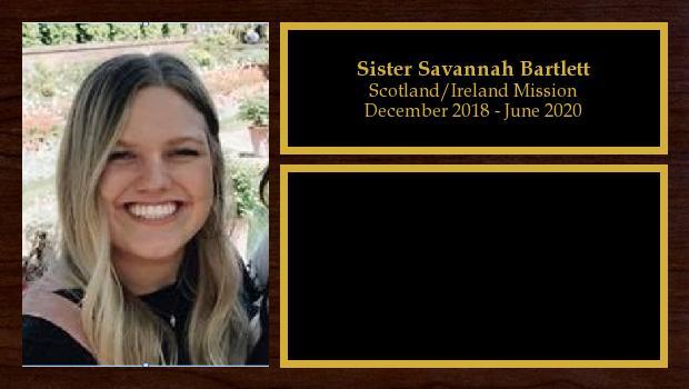 December 2018 to June 2020<br/>Sister Savannah Bartlett