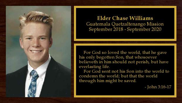 September 2018 to April 2020<br/>Elder Chase Williams