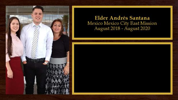 August 2018 to August 2019<br/>Elder Andrés Santana