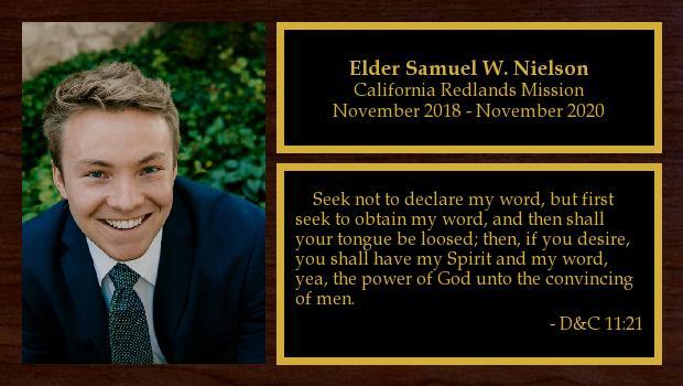 November 2018 to November 2020<br/>Elder Samuel W. Nielson
