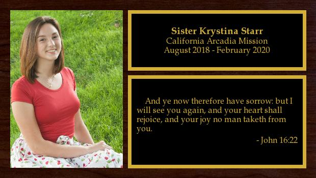 August 2018 to February 2020<br/>Sister Krystina Starr