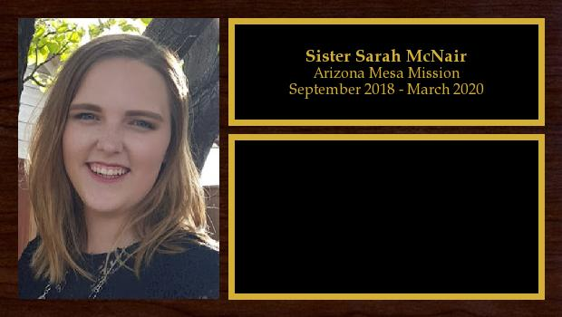 September 2018 to March 2020<br/>Sister Sarah McNair