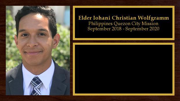 September 2018 to September 2020<br/>Elder Iohani Christian Wolfgramm