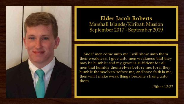 September 2017 to September 2019<br/>Elder Jacob Roberts