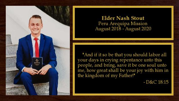 August 2018 to August 2020<br/>Elder Nash Stout