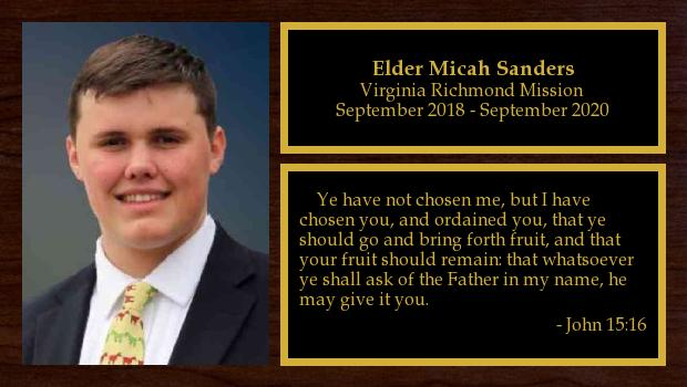 September 2018 to September 2020<br/>Elder Micah Sanders