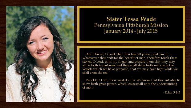 January 2014 to July 2015<br/>Sister Tessa Wade