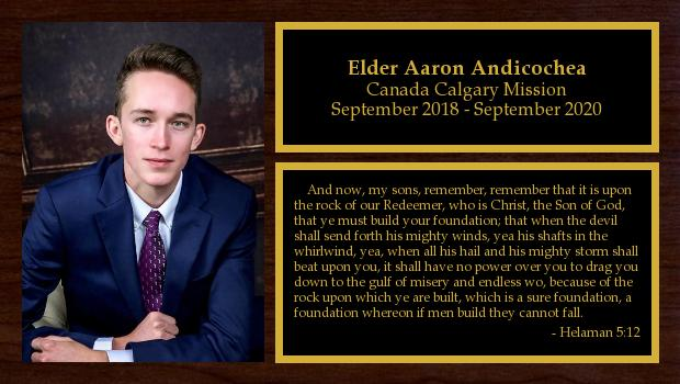 September 2018 to September 2020<br/>Elder Aaron Andicochea