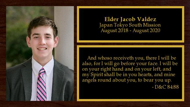 August 2018 to August 2020<br/>Elder Jacob Valdez