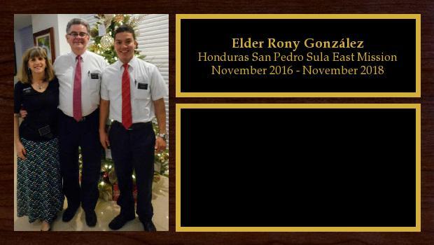 November 2016 to November 2018<br/>Elder Rony González