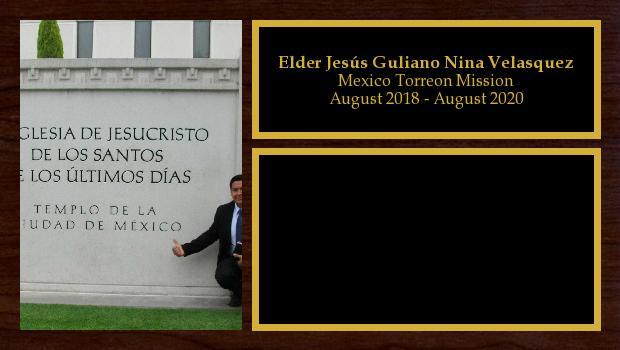August 2018 to August 2020<br/>Elder Jesús Guliano Nina Velasquez