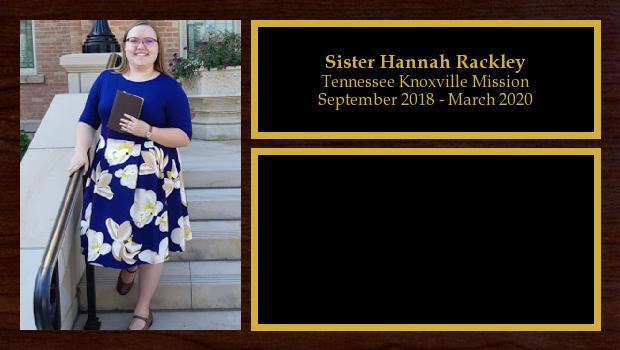 September 2018 to March 2020<br/>Sister Hannah Rackley
