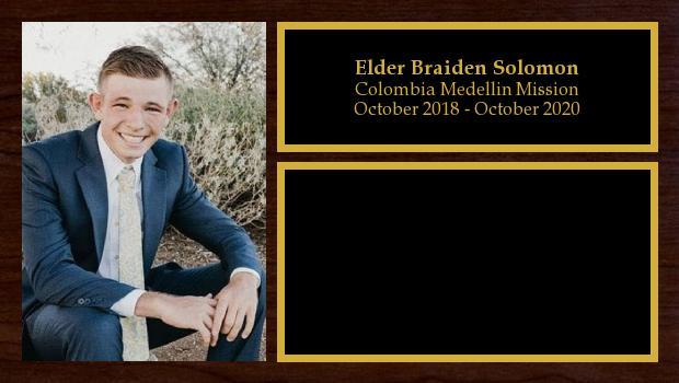 October 2018 to October 2020<br/>Elder Braiden Solomon