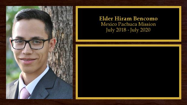 July 2018 to July 2020<br/>Elder Hiram Bencomo