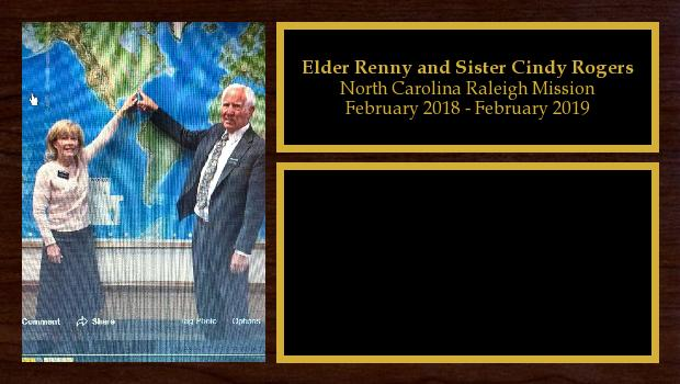 February 2018 to September 2019<br/>Elder Renny and Sister Cindy Rogers