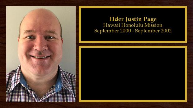 September 2000 to September 2002<br/>Elder Justin Page
