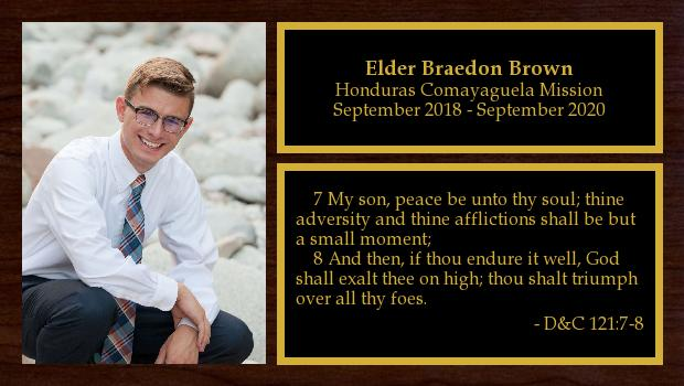 September 2018 to August 2020<br/>Elder Braedon Brown