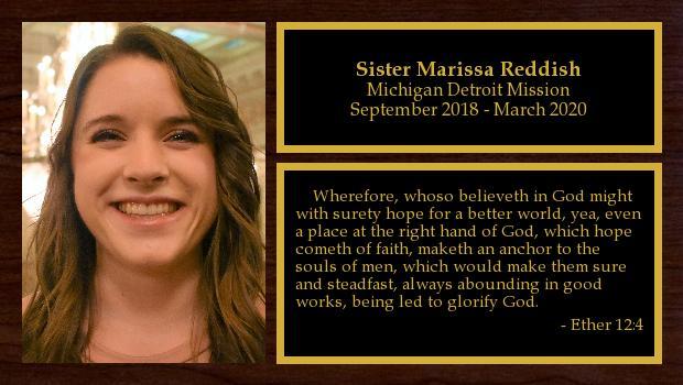 September 2018 to March 2020<br/>Sister Marissa Reddish