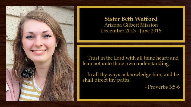 December 2013 to June 2015<br/>Sister Beth Watford