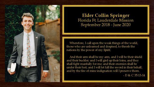 September 2018 to September 2020<br/>Elder Collin Springer