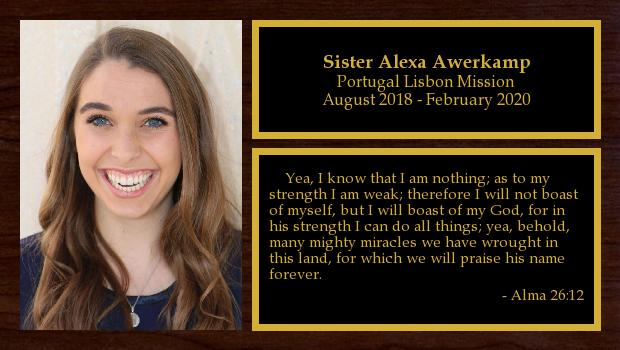 August 2018 to February 2020<br/>Sister Alexa Awerkamp