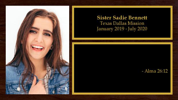 January 2019 to July 2020<br/>Sister Sadie Bennett