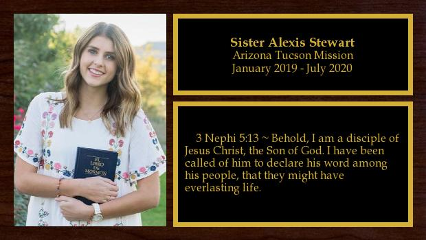 January 2019 to July 2020<br/>Sister Alexis Stewart
