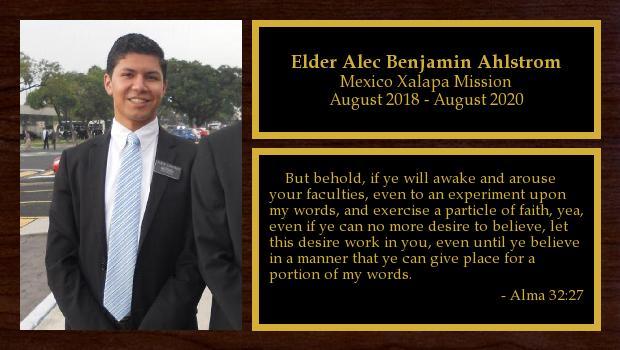 August 2018 to August 2020<br/>Elder Alec Benjamin Ahlstrom