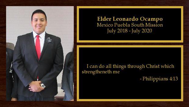 July 2018 to June 2020<br/>Elder Leonardo Ocampo