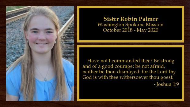October 2018 to May 2020<br/>Sister Robin Palmer