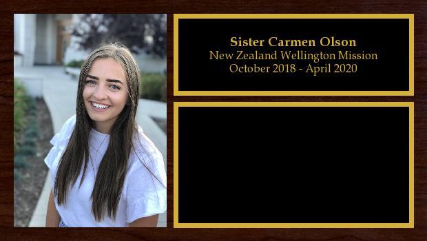 October 2018 to April 2020<br/>Sister Carmen Olson
