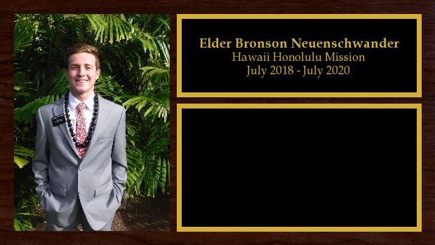 July 2018 to May 2020<br/>Elder Bronson Neuenschwander