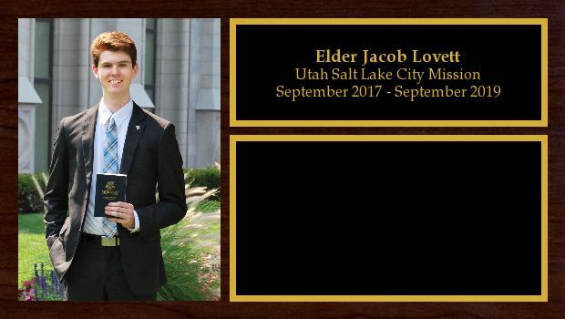 September 2017 to September 2019<br/>Elder Jacob Lovett