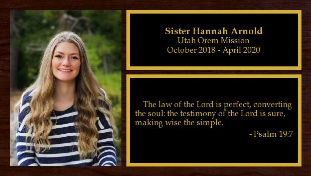 October 2018 to April 2020<br/>Sister Hannah Arnold