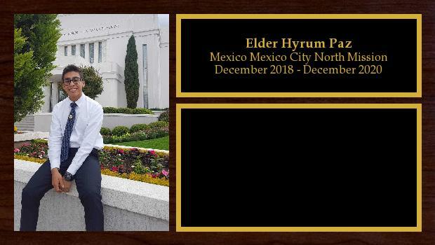 December 2018 to December 2020<br/>Elder Hyrum Paz