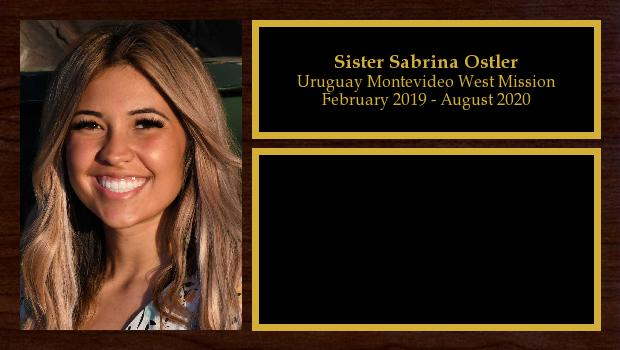 February 2019 to August 2020<br/>Sister Sabrina Ostler