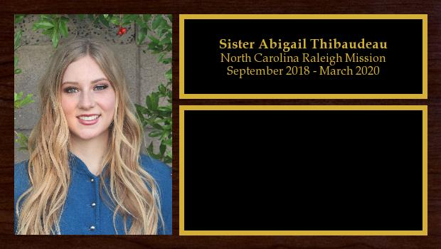 September 2018 to March 2020<br/>Sister Abigail Thibaudeau